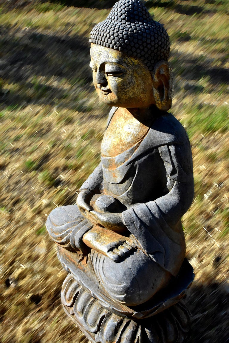Solid Stone Buddha Statue Holding a Pearl Hand Carved For Sale 8