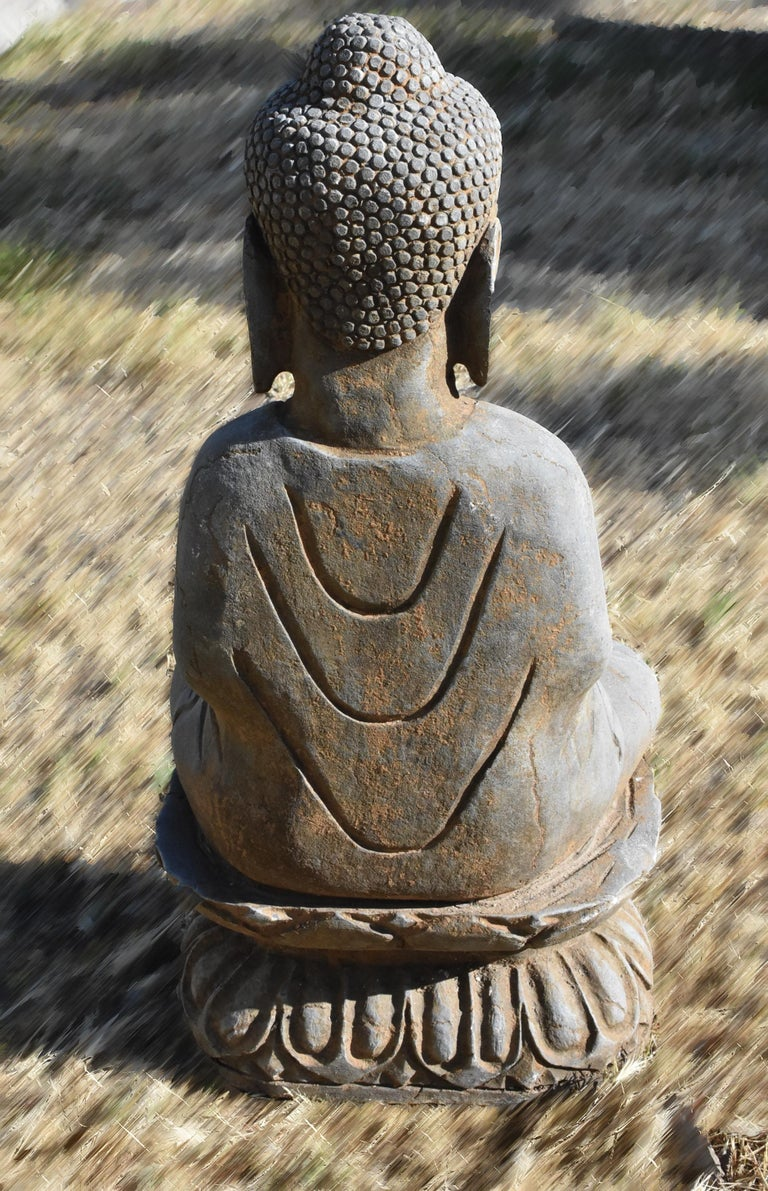 Solid Stone Buddha Statue Holding a Pearl Hand Carved For Sale 10