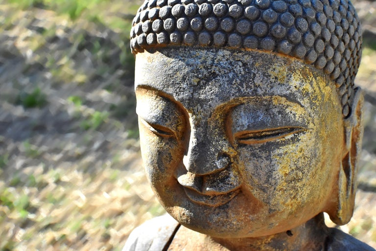 Solid Stone Buddha Statue Holding a Pearl Hand Carved For Sale 14