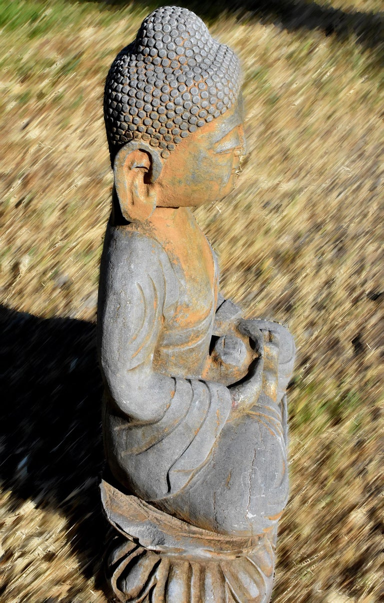 Solid Stone Buddha Statue Holding a Pearl Hand Carved For Sale 2