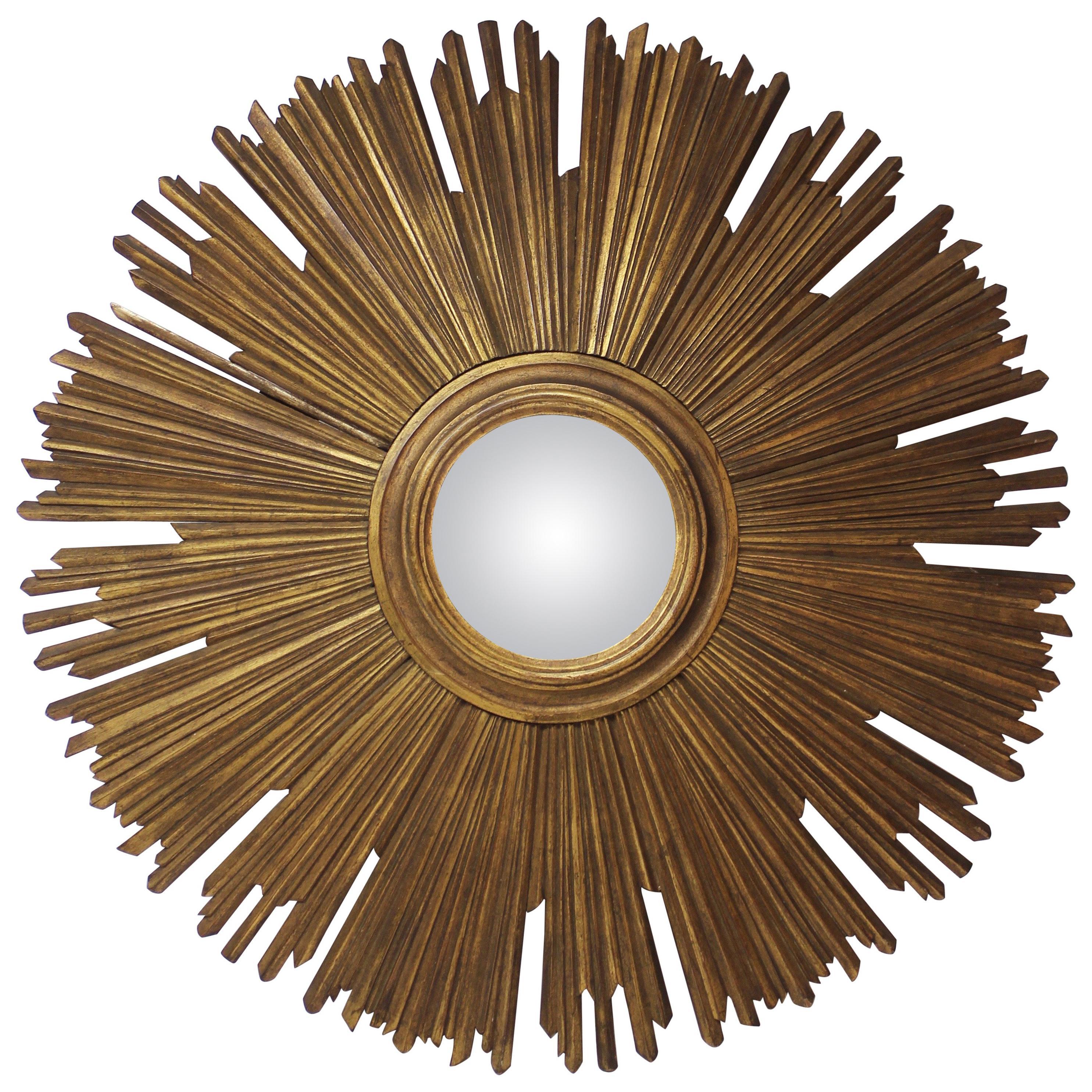 Gilt Sunburst Convex Mirror