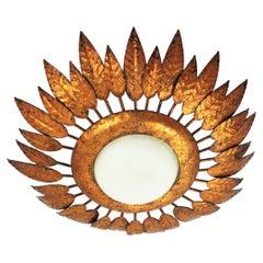 Gilt Sunburst Light Fixture