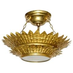 Gilt Sunburst Light Fixture