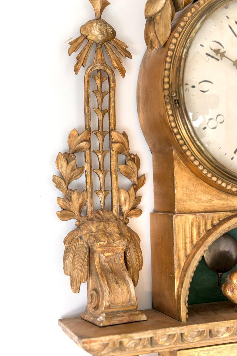 Gilt Swedish Cartel Wall Clock For Sale 6