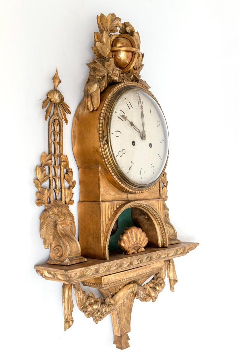 Gilt Swedish Cartel Wall Clock For Sale 7