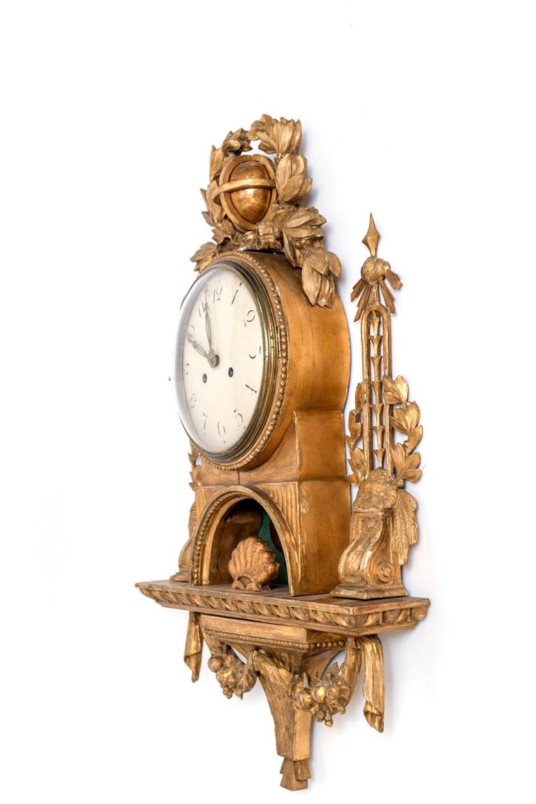 Gilt Swedish Cartel Wall Clock For Sale 8
