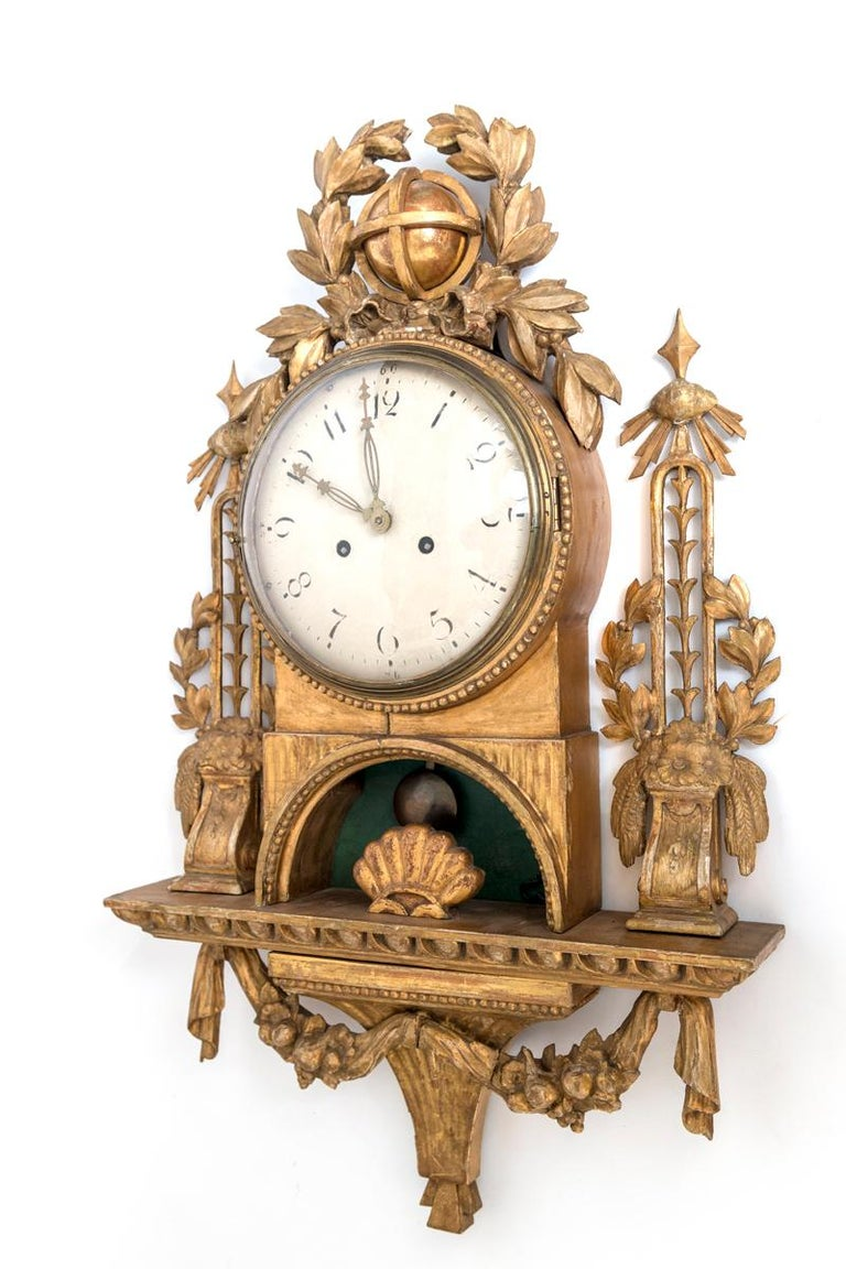 Gilt Swedish Cartel Wall Clock For Sale 9