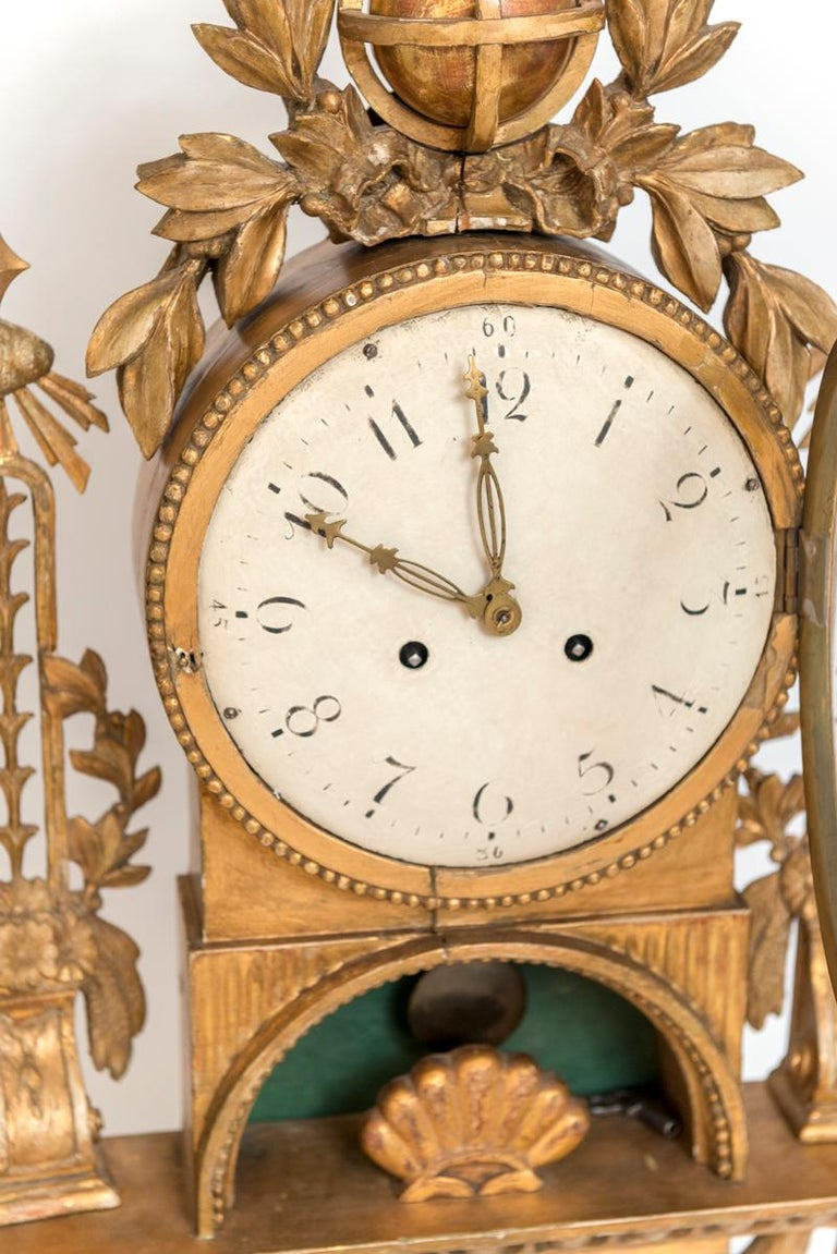 Gilt Swedish Cartel Wall Clock In Good Condition For Sale In Washington, DC