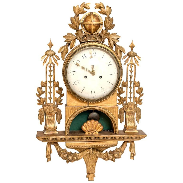Gilt Swedish Cartel Wall Clock For Sale