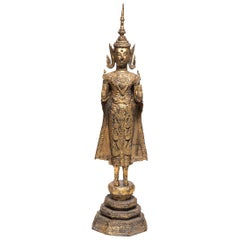 Gilt Thai Rattanakosin Standing Buddha, circa 1850