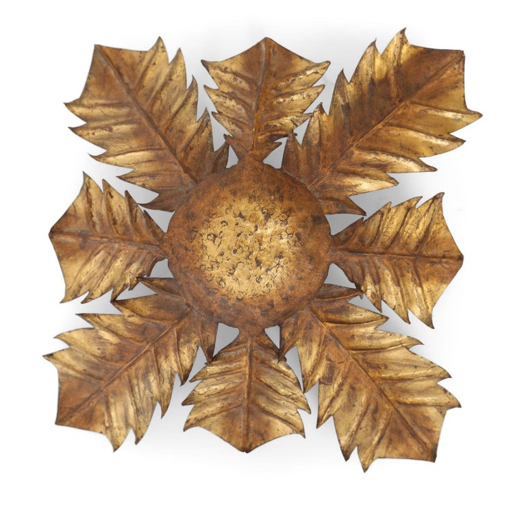 Gilt Tole Acanthus Flush Mount In Good Condition For Sale In Houston, TX