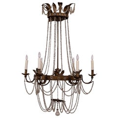 Gilt Tole and Glass French Empire Chandelier