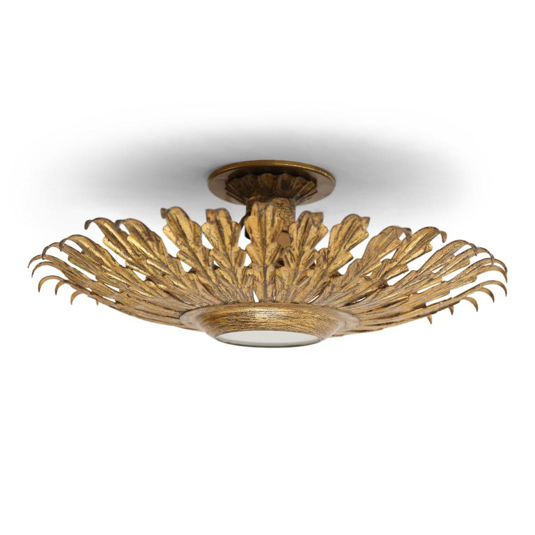 Frosted Gilt Tole Flush Mount Light For Sale