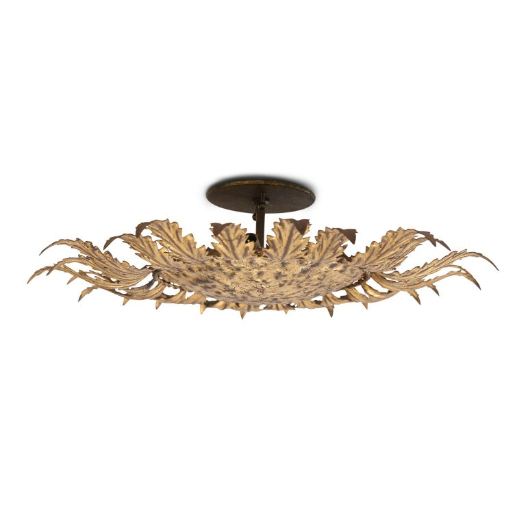 20th Century Gilt Tole Flush Mount Light For Sale