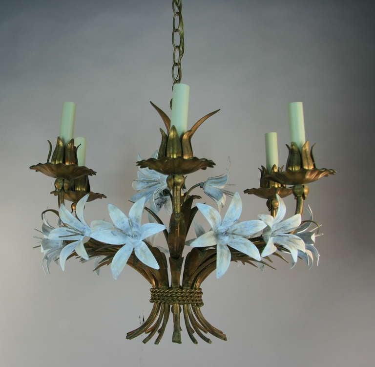 #1-3001 gilt tole Italian six-light chandelier with white flowers. Take 60 watt max candelabra based bulb.