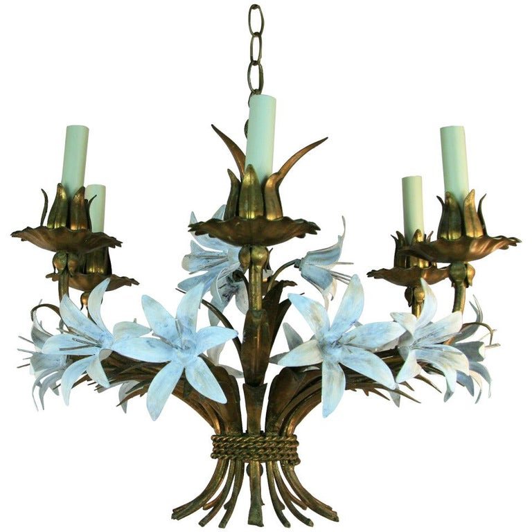 Gilt Tole Italian Flower Six-Light Chandelier For Sale
