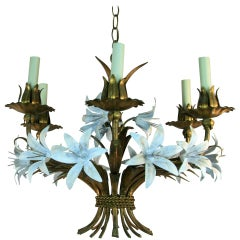 Gilt Tole Italian Flower Six-Light Chandelier