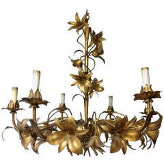 Gilt Tole Ware Flowers and Leaves Chandelier Italy