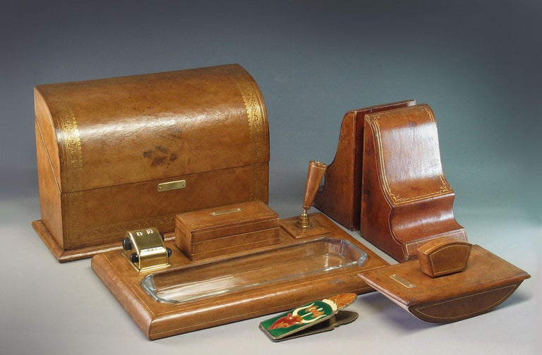 Gilt Tooled Leather Desk Accessories Italian or French, 20th Century For Sale 5