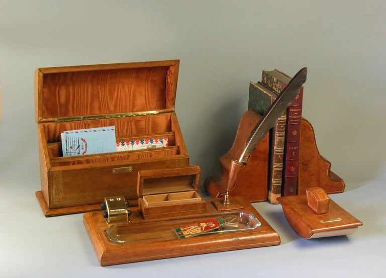 Gilt Tooled Leather Desk Accessories Italian or French, 20th Century For Sale 7