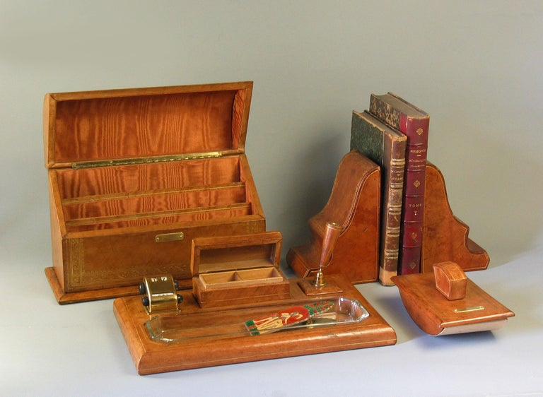 Hand-Crafted Gilt Tooled Leather Desk Accessories Italian or French, 20th Century For Sale