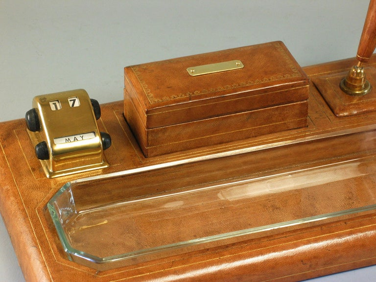 Gilt Tooled Leather Desk Accessories Italian or French, 20th Century For Sale 1