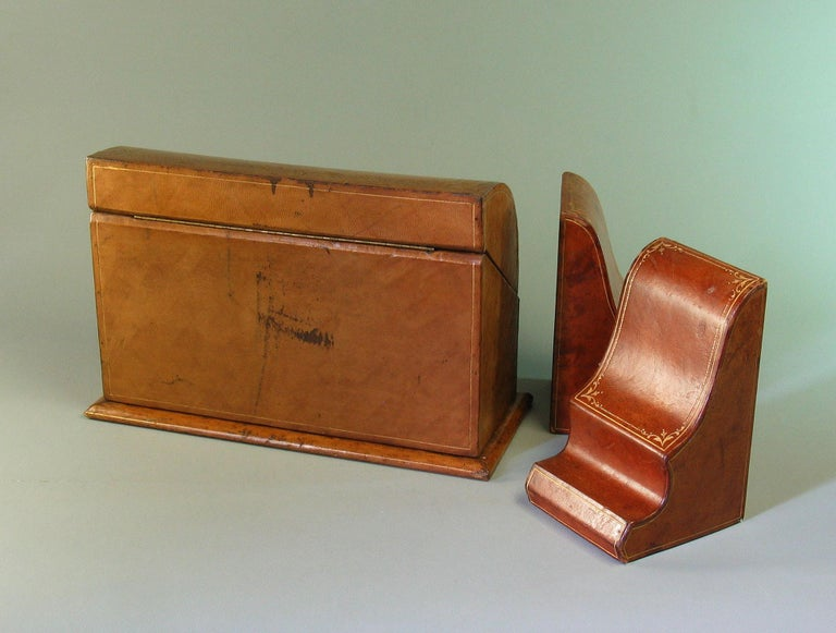 Gilt Tooled Leather Desk Accessories Italian or French, 20th Century For Sale 2