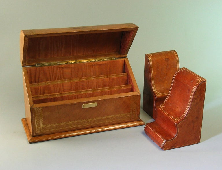 Gilt Tooled Leather Desk Accessories Italian or French, 20th Century For Sale 3