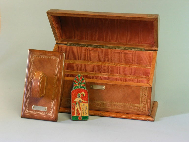Gilt Tooled Leather Desk Accessories Italian or French, 20th Century For Sale 4