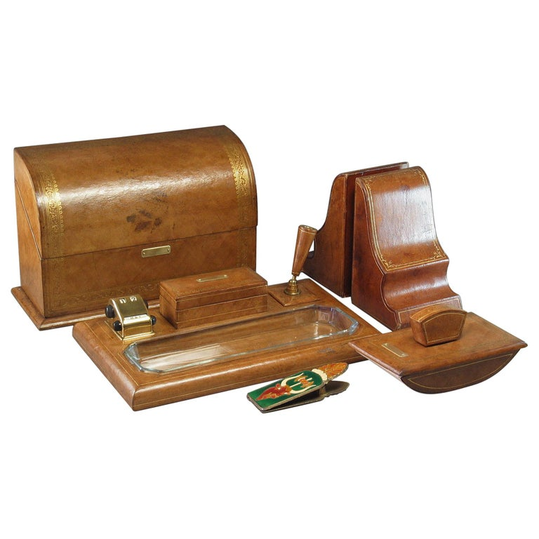 Gilt Tooled Leather Desk Accessories Italian or French, 20th Century For Sale