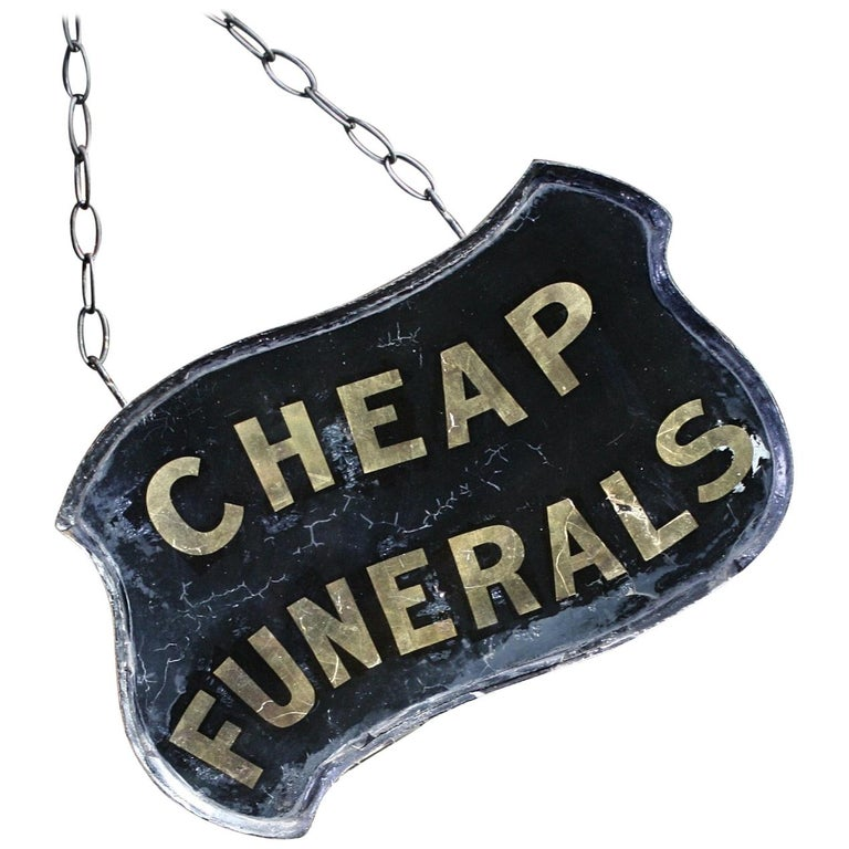 Gilt Verre Églomisé, Cheap Funerals Trade Shop Sign Oliver Twist For Sale