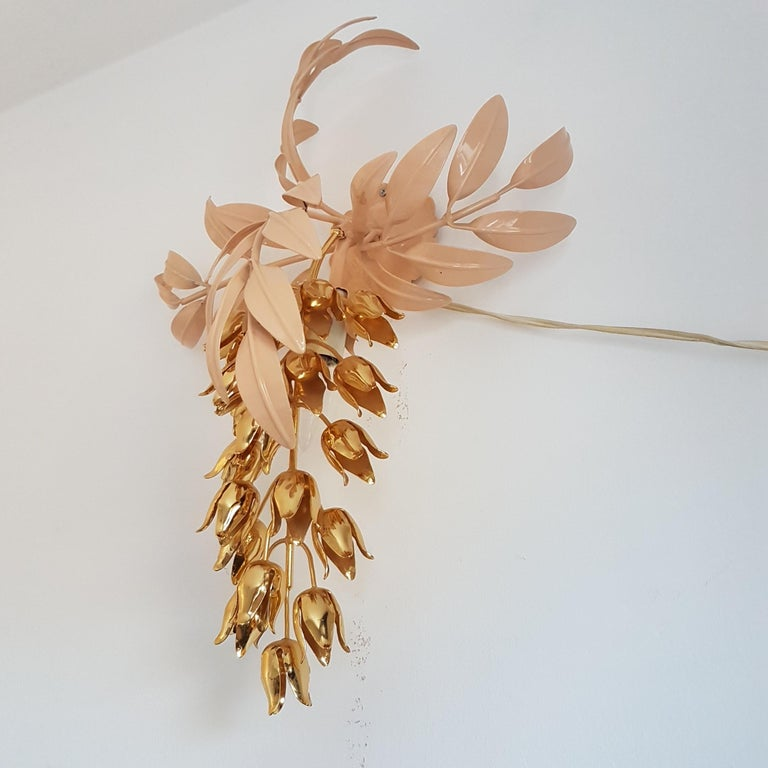 German Gilt Wall Lamp with Wisteria Flowers by Hans Kögl for Unknown, 1970s For Sale