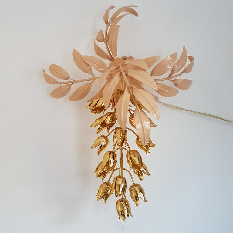 Gilt Wall Lamp with Wisteria Flowers by Hans Kögl for Unknown, 1970s In Good Condition For Sale In Valkenswaard, NL