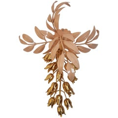 Gilt Wall Lamp with Wisteria Flowers by Hans Kögl for Unknown, 1970s