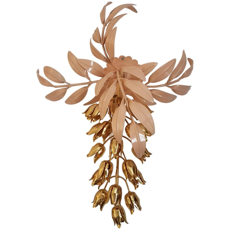 Gilt Wall Lamp with Wisteria Flowers by Hans Kögl for Unknown, 1970s For Sale