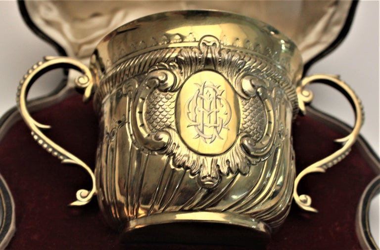 Victorian Gilt Washed Sterling Silver Loving Cup & Spoon or Porringer with Fitted Case For Sale