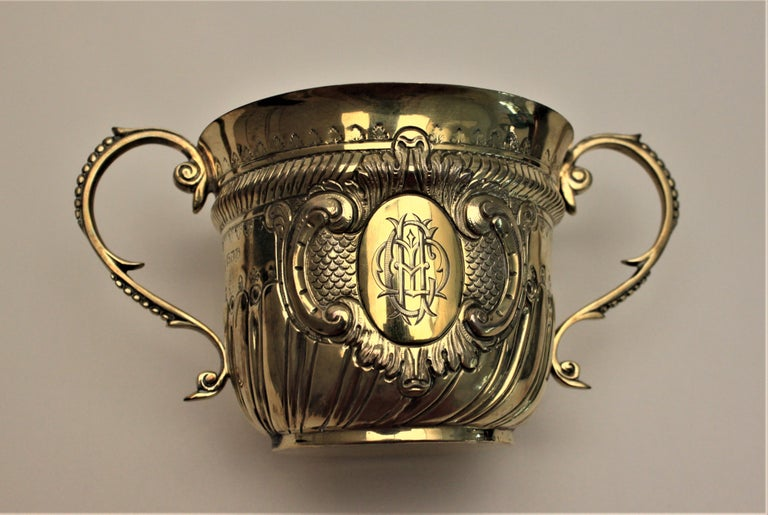 English Gilt Washed Sterling Silver Loving Cup & Spoon or Porringer with Fitted Case For Sale