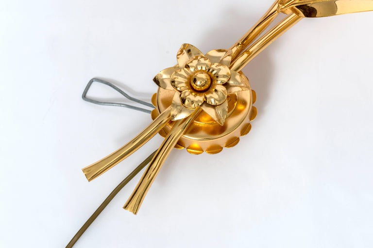 Brass Gilt Wheat Wall Sconce For Sale
