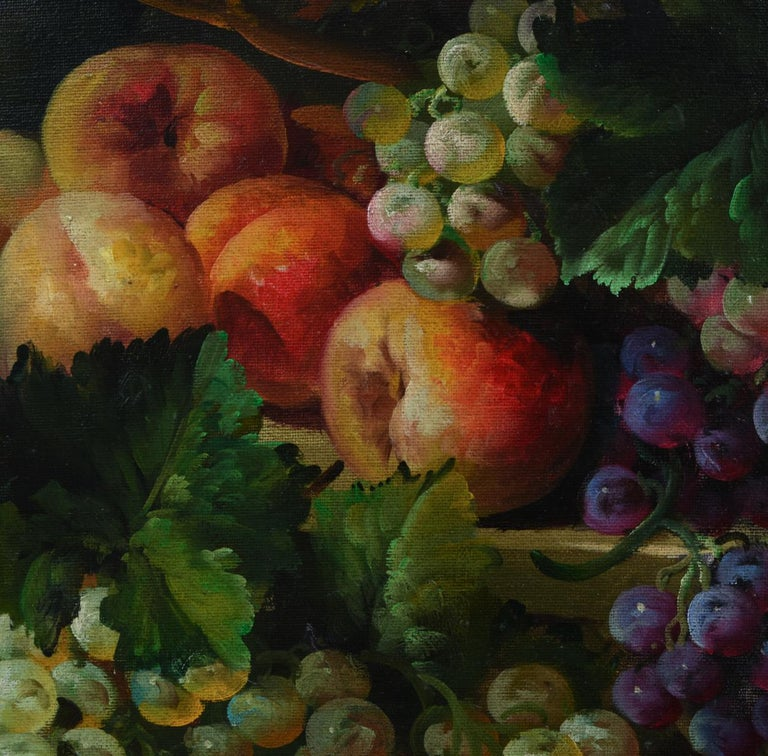 Giltwood carved frame art work oil painting still life of Continental style of fruit. The oil painting is highly detailed depicting an overflowing flower arrangement with fruit. Signed on the lower left corner by the artist. The painting measure