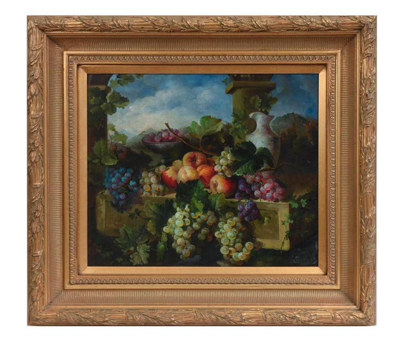 North American Giltwood Carved Frame Artwork Oil Painting Still Life For Sale