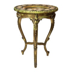Giltwood Circular Table with Hand Painted Royal Vienna Porcelain Plaques