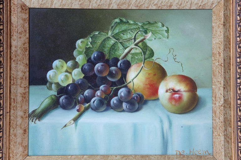 Late 20th century giltwood framed oil on canvas still life painting. The oil painting is in good condition. Artist signature left hand corner. The frame is about 17 inches x 15 inches. Oil painting measure about 10 inches x 8 inches