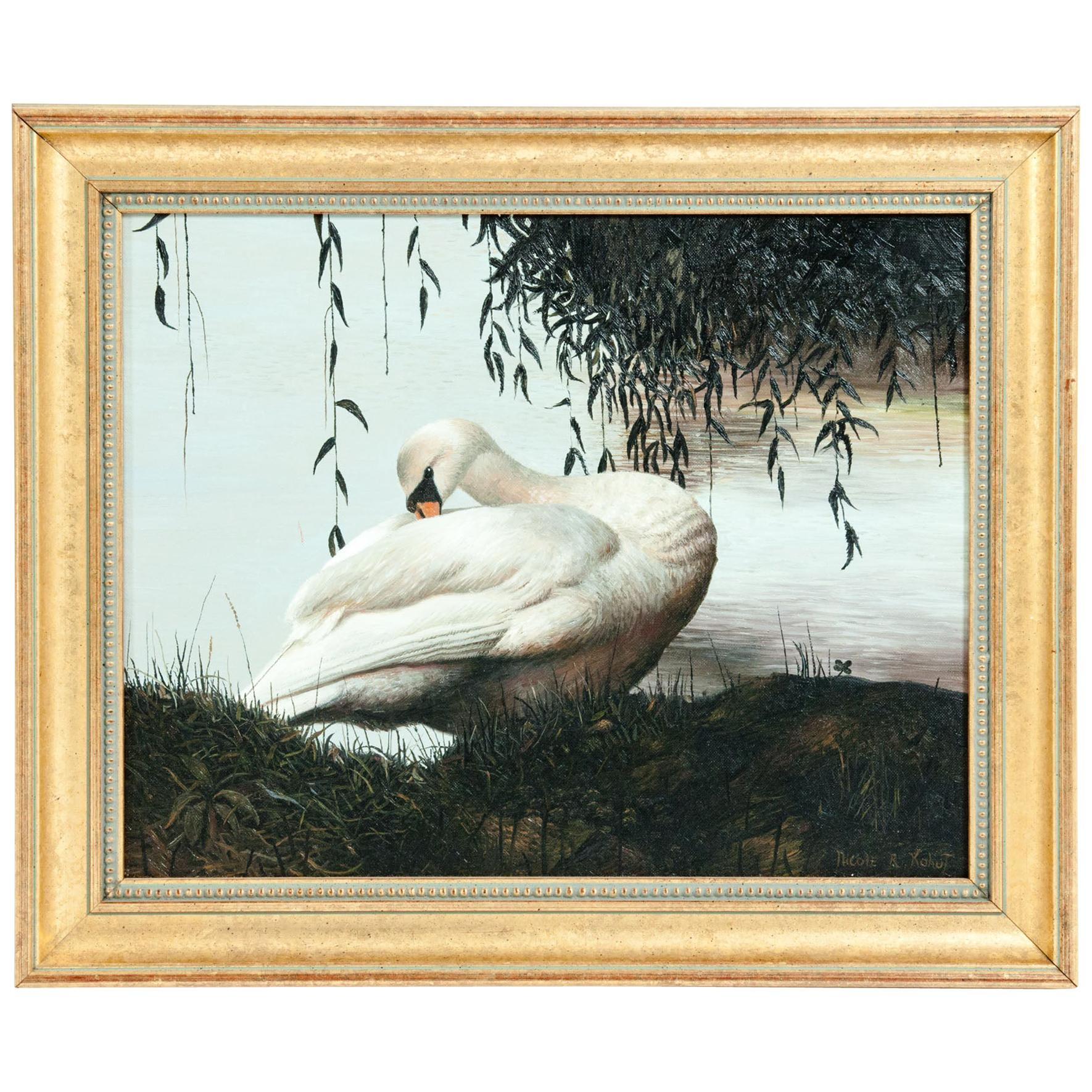 Giltwood Frame Oil / Canvas Wildlife Painting