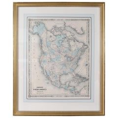 Giltwood Framed / Matted Map / North America