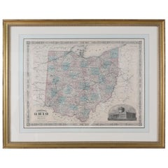 Giltwood Framed and Matted Map / Ohio