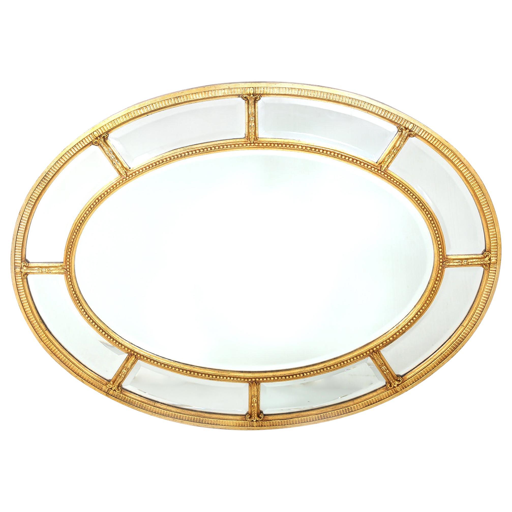 Gilt Wood Framed Oval Shape Beveled Wall Mirror