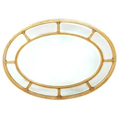 Gilt Wood Framed Oval Shape Beveled Wall Mirror