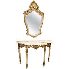 Gilt-Wood & Marble-Top Console Table & Matching Mirror, Louis XVI Style, France