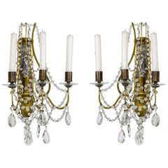 Giltwood, Mirror and Crystal 1-Light Sconces w/ Candlesticks, Pair