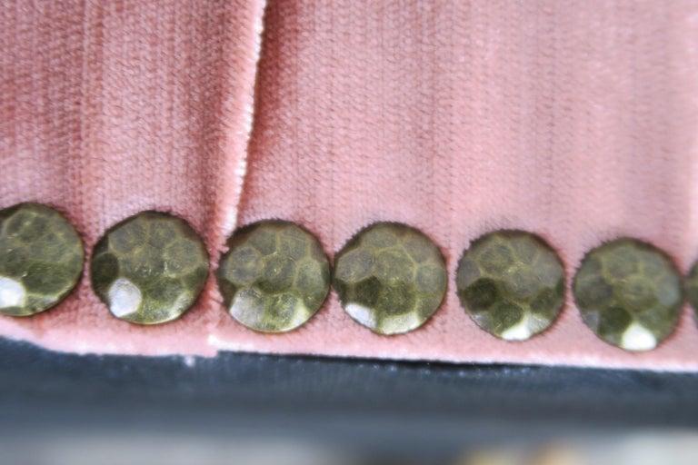 Gilt Wood Pink Velvet Tufted Benches, Pair For Sale 6